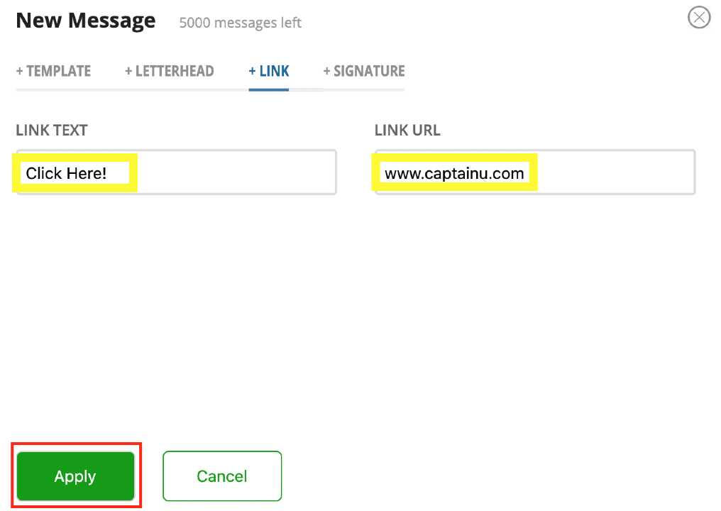 adding link to message in captainu coach account image 4