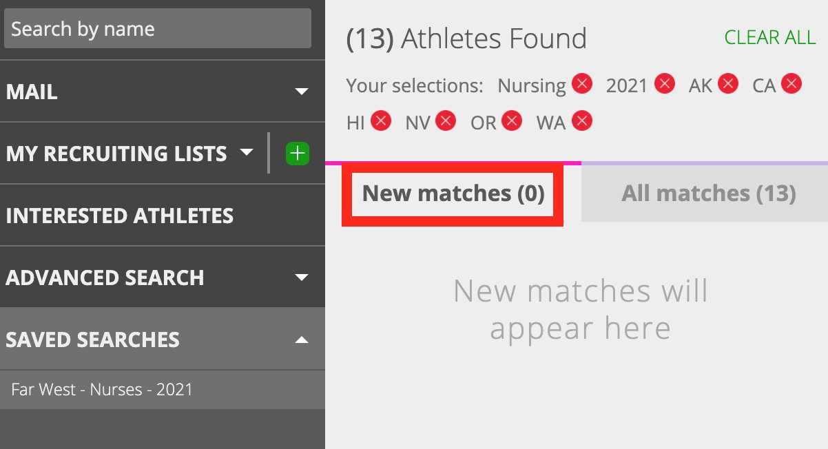 how to find a saved search in captainu college coach account image 2